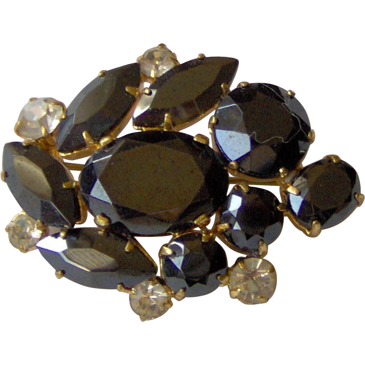 Vintage Black and Clear Rhinestone Brooch