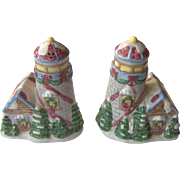 Winter Village scene salt and pepper shakers