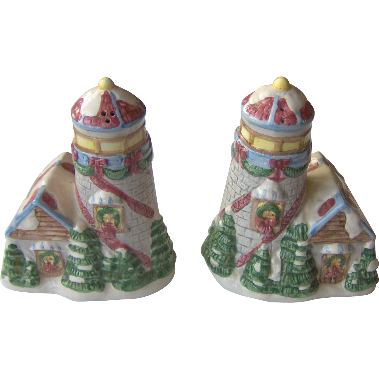 Vintage Winter Village scene salt and pepper shakers
