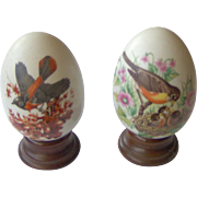 Pair of Avon seasonal eggs with birds