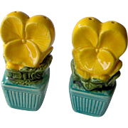 Vintage Yellow Flower salt and pepper shakers