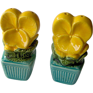 Yellow Flowers in Green Pots salt and pepper shakers