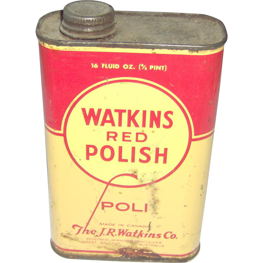 Vintage Watkins Red Polish Tin