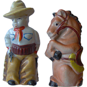 Cowboy and Horse Salt and Pepper Shakers