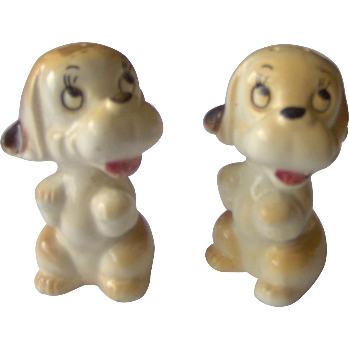 Brown and White Dog salt and pepper shakers