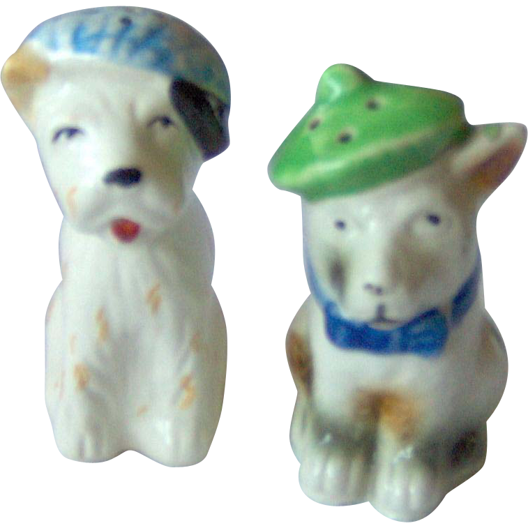 Vintage Dogs wearing hats Salt and Pepper Shakers