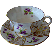 Purple Floral Cut and Saucer