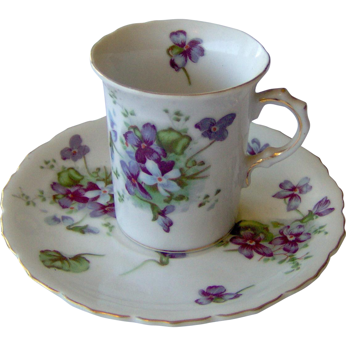 Demitasse cup and saucer with violets
