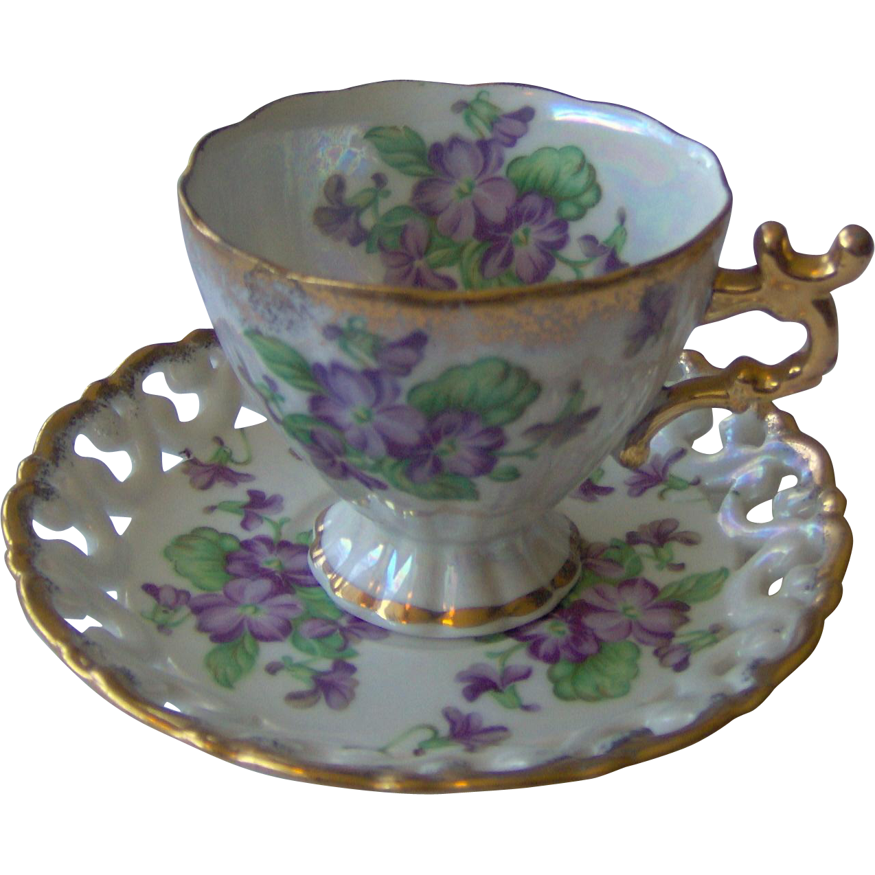 Floral Cup and Saucer with purple flowers