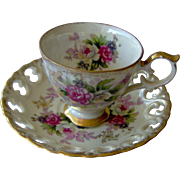 Vintage Floral cup and saucer with Reticulated saucer