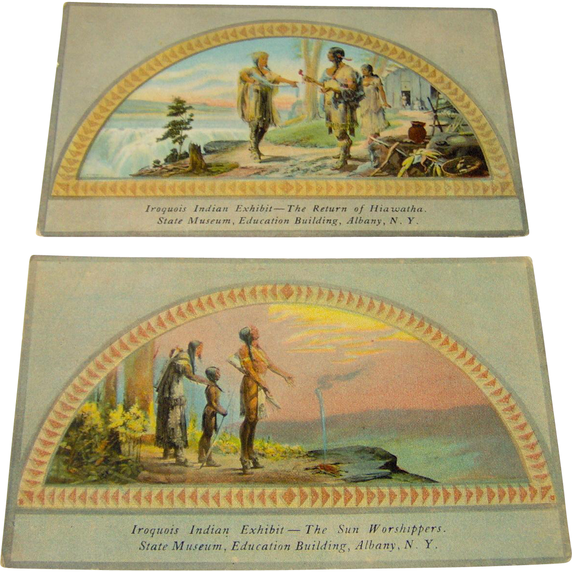 Vintage Iroquois Indian Exhibit Postcards