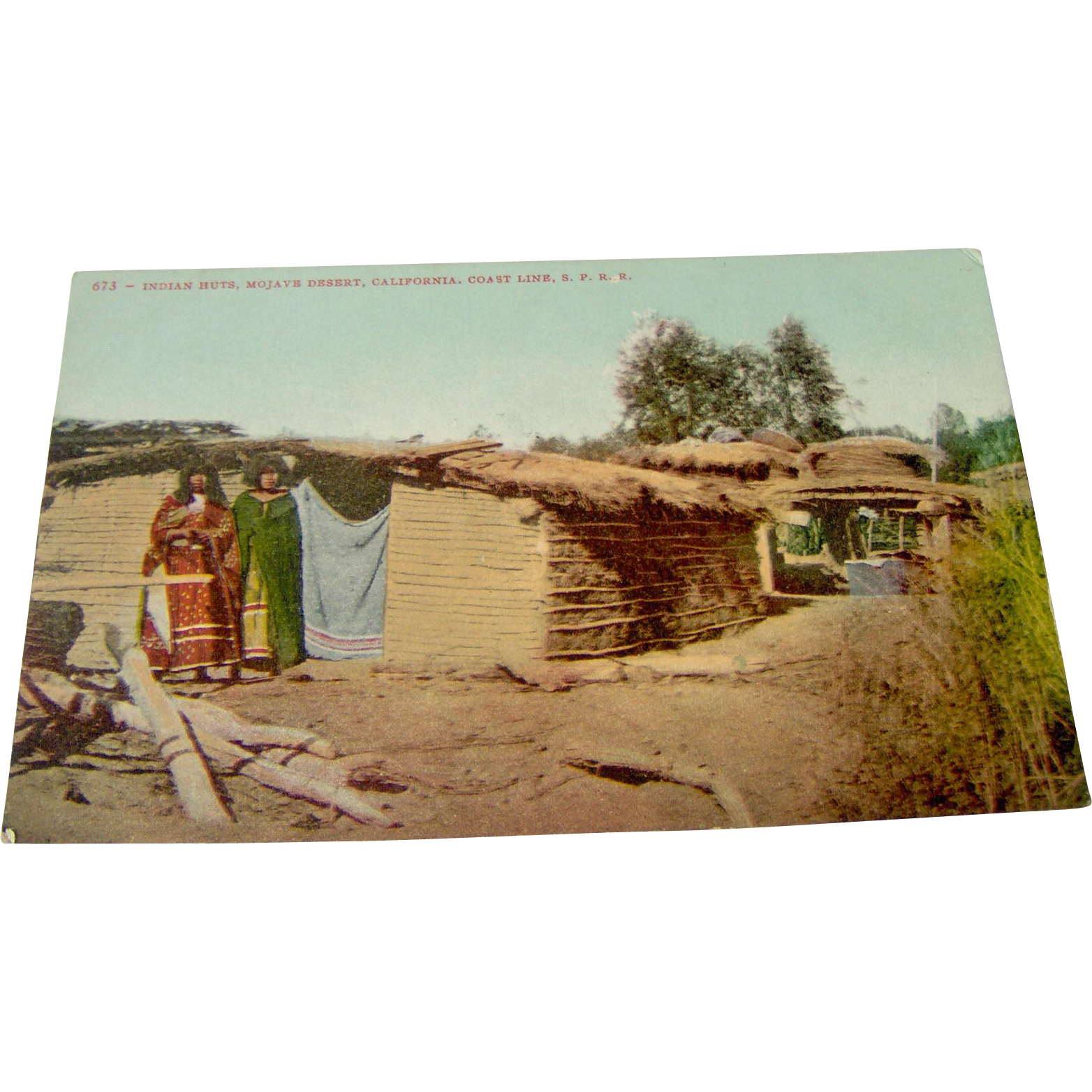 Vintage Indian Huts Postcard