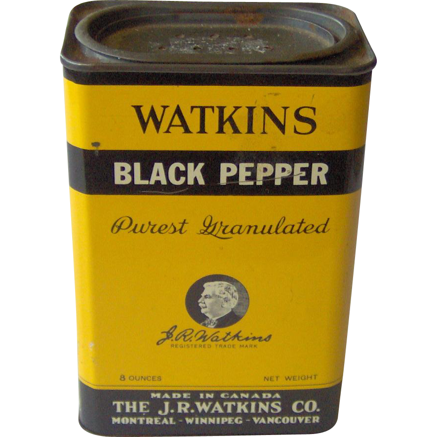 Vintage J. R. Watkins Black Pepper tin