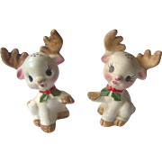 Christmas Reindeer Salt and Pepper Shakers by Lefton