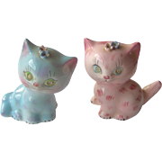 Blue and Pink Cat salt and pepper shakers