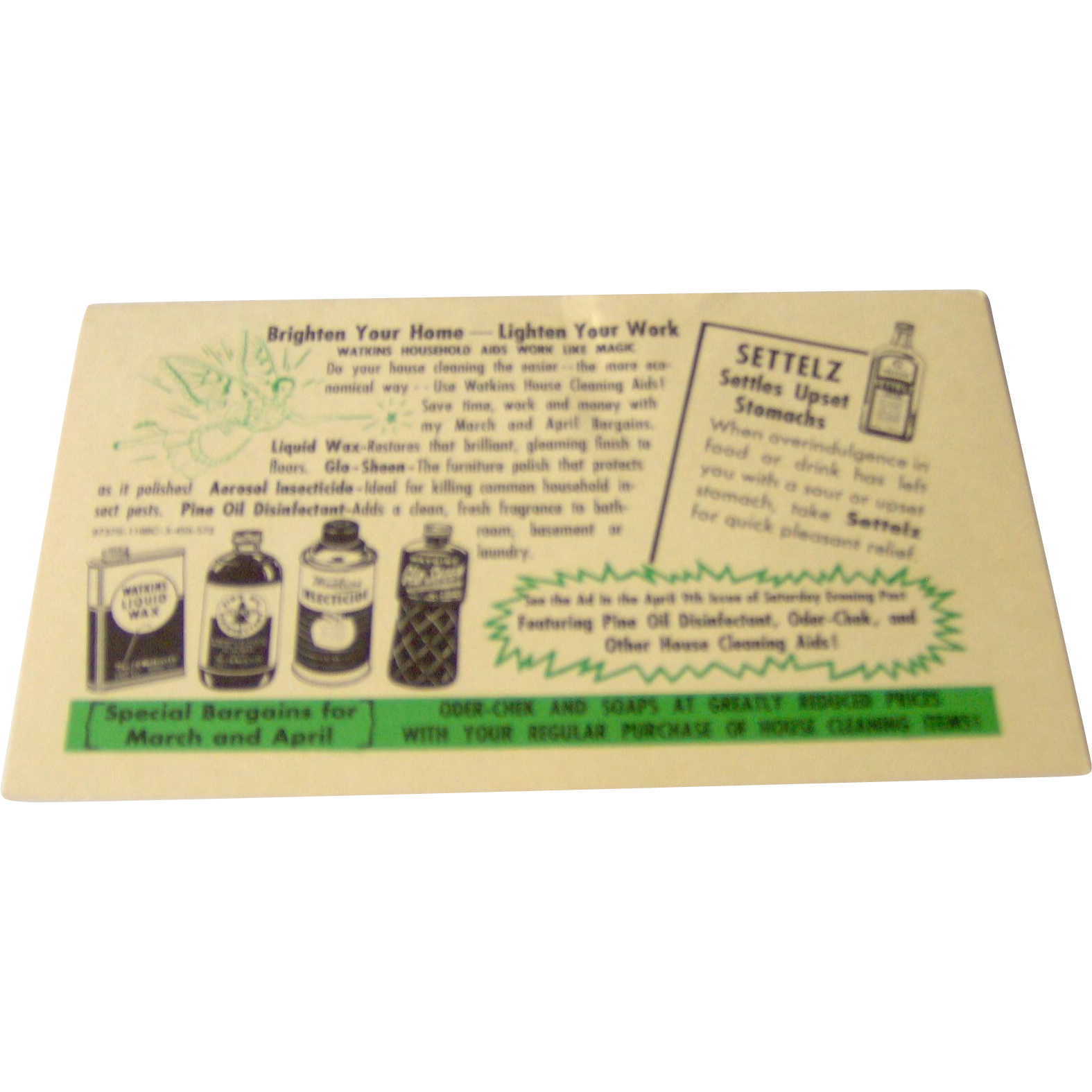 Vintage Watkins Salesman Postcard