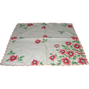 Vintage Handkerchief with pink flowers