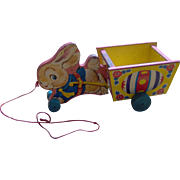 Fisher Price Bunny and Cart pull toy 1950's