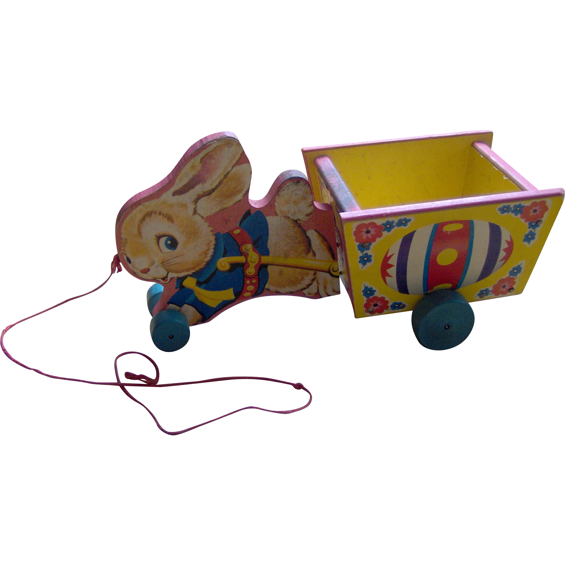 Vintage Fisher Price Bunny and Cart pull toy