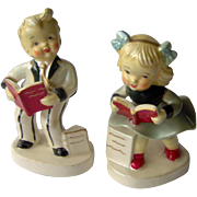 Vintage Children Reading Books Figurines