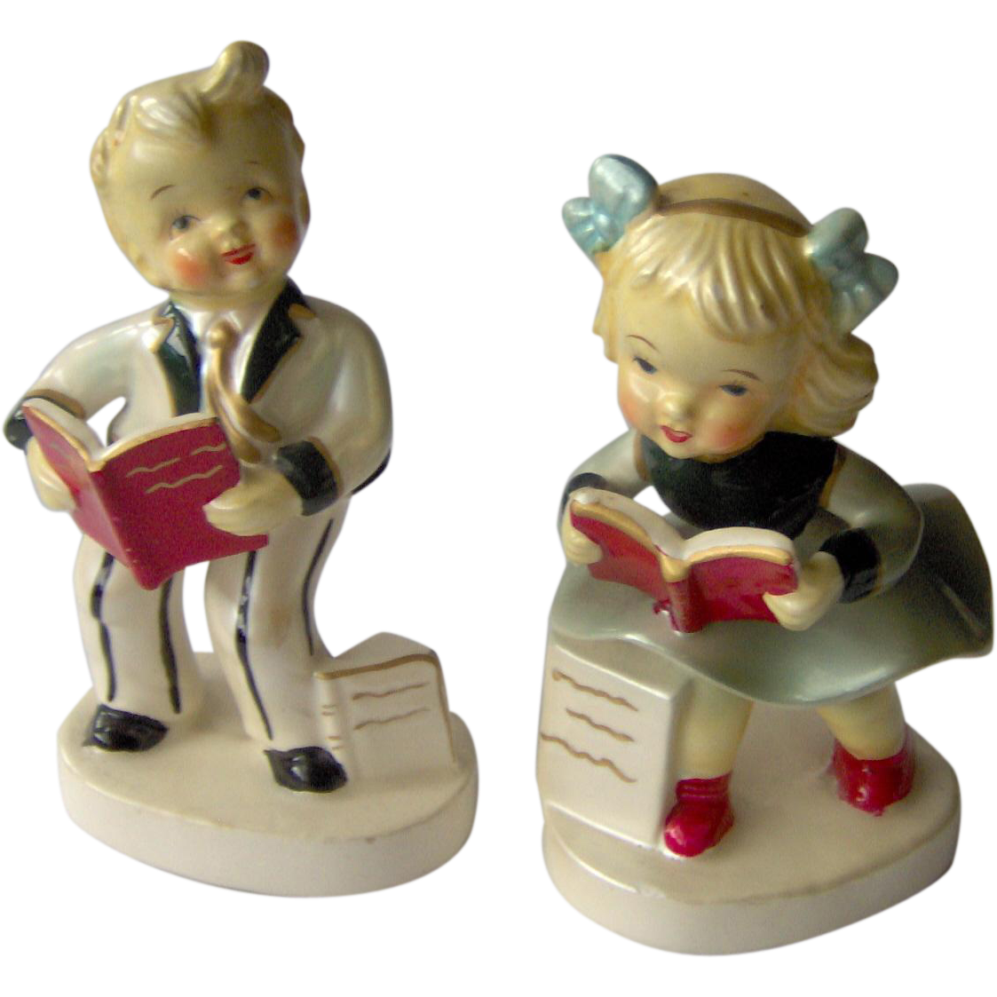 Vintage Children Reading Books Figurines