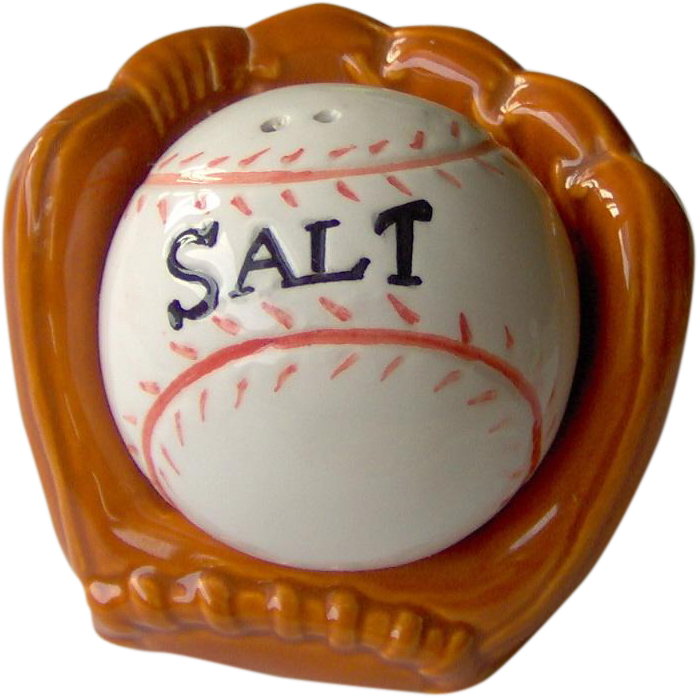Vintage Baseball and Catchers Mitt  Salt and Pepper Shakers
