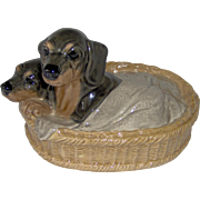 Vintage Heredities Dachshunds In a Basket
