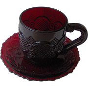 Avon Cape Cod Ruby Red Cup and Saucer Set