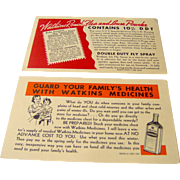 Watkins Salesman Postcards Advertising Products