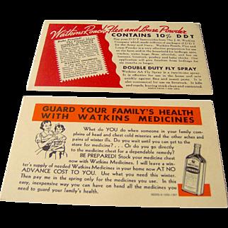 Watkins Salesman Postcards Advertising Products