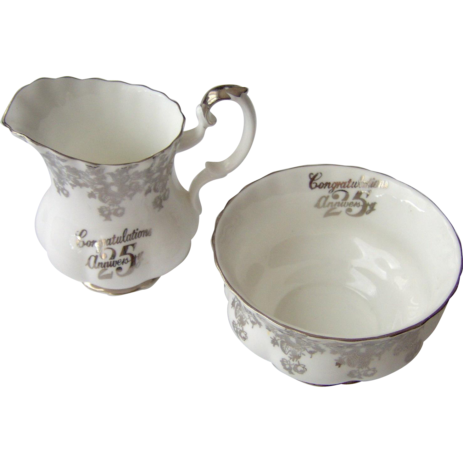 Vintage Royal Albert Creamer and Open Sugar 25th Anniversary