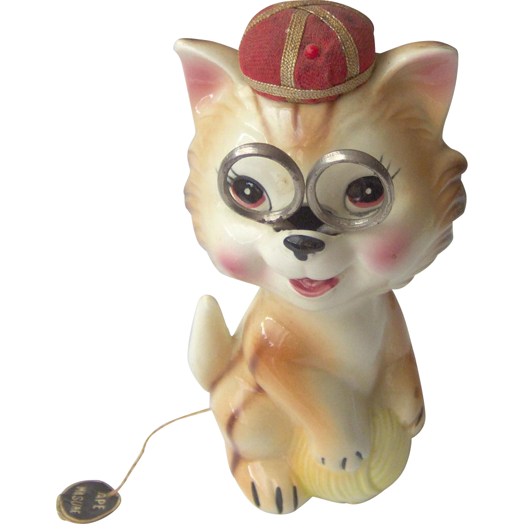 Vintage Ceramic Sewing Caddy Cat