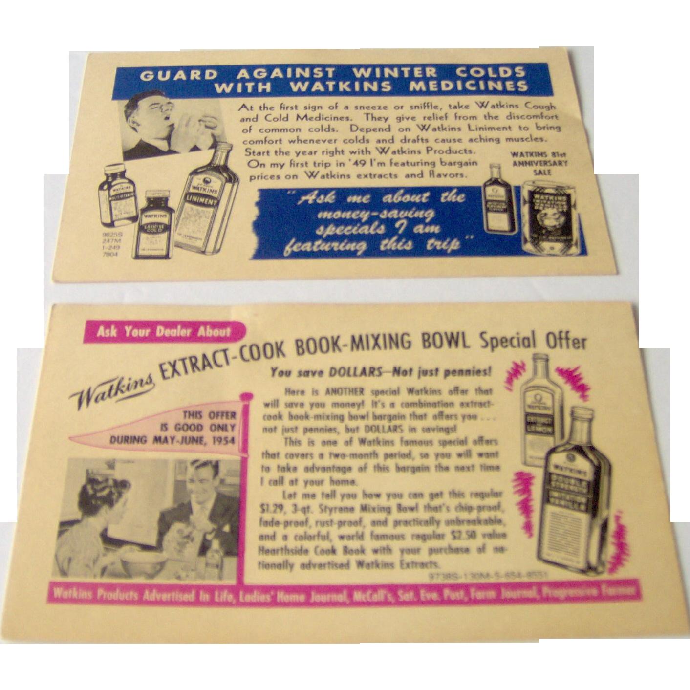 Vintage Watkins Salesman Postcards for assorted Watkins products