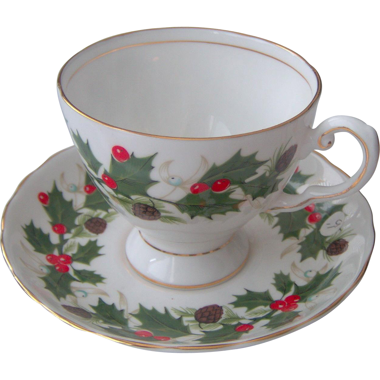 Vintage Holly and Berry Cup and Saucer