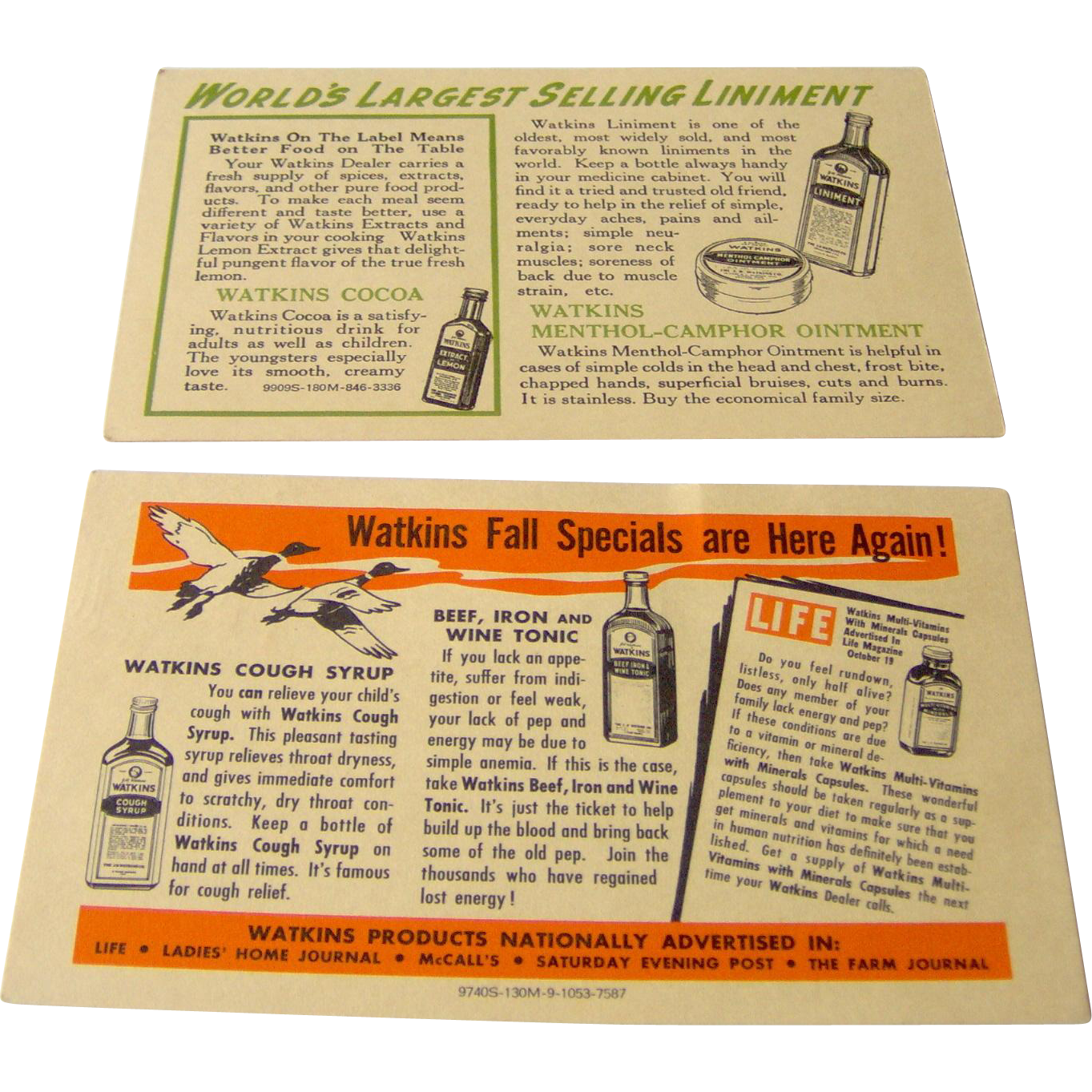 Vintage Watkins Salesman postcard featuring Watkins products
