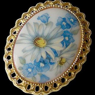 Vintage Oval Brooch Pendant
