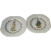 Vintage Pinky and Blue Boy Decorative Plates