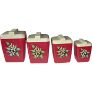 Vintage Red Burrite Canister Set