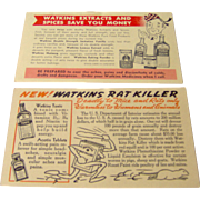 Vintage Pair of Watkins salesman postcards advertising Watkins products