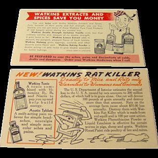 Pair of Watkins salesman postcards advertising Watkins products