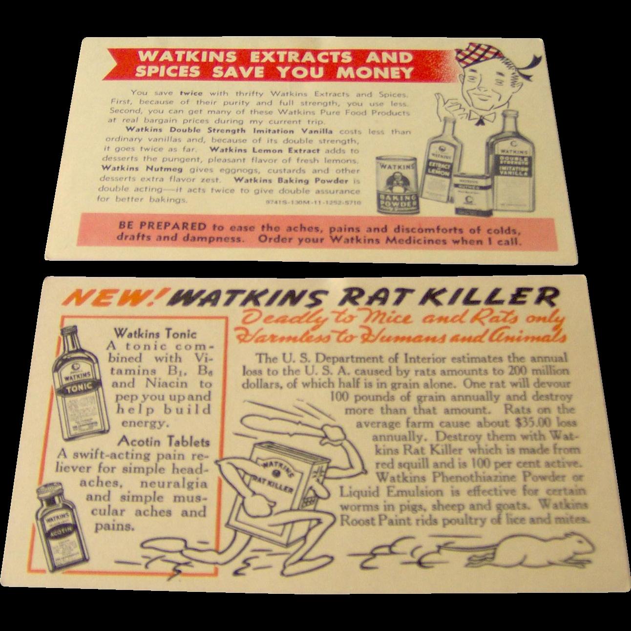 Vintage Pair of Watkins salesman postcards advertising Watkins products