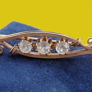 LOVELY C.1880 Victorian ROSE Gold Pin 3 Paste Jewels