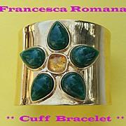 FAB! Francesca Romana Semi-Precious Jewel Cuff Bracelet