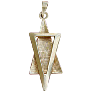 COOL Modernist 14K Gold Star of David Pendant