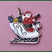 Sterling Enamel SANTA Sleigh Full of Presents Christmas Charm