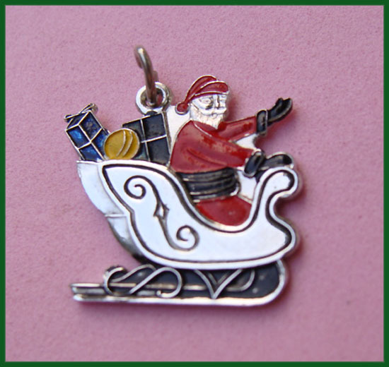 Sterling Enamel SANTA Sleigh Full of Presents Christmas Charm