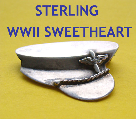 WWII Sterling US Military PILOT Officer Hat Sweetheart Pin