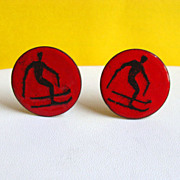 MODERNIST Enamel on Copper Downhill SKIER Earrings