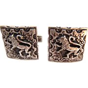 Mid Century Sterling Fenwick & Sailors Regal LION Cufflinks