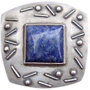 Audrey Schenk Signed Modernist Sterling Stone Pin